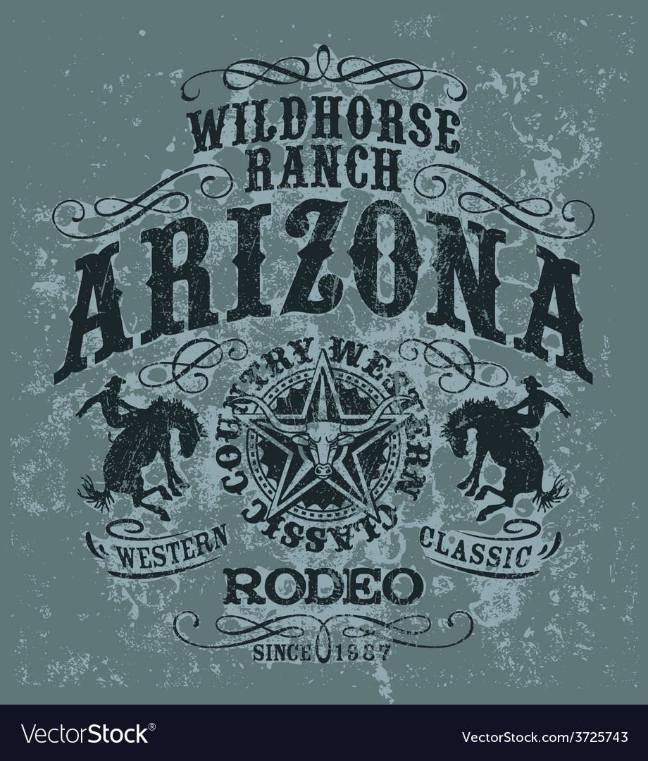 Arizona wild horse rodeo vector