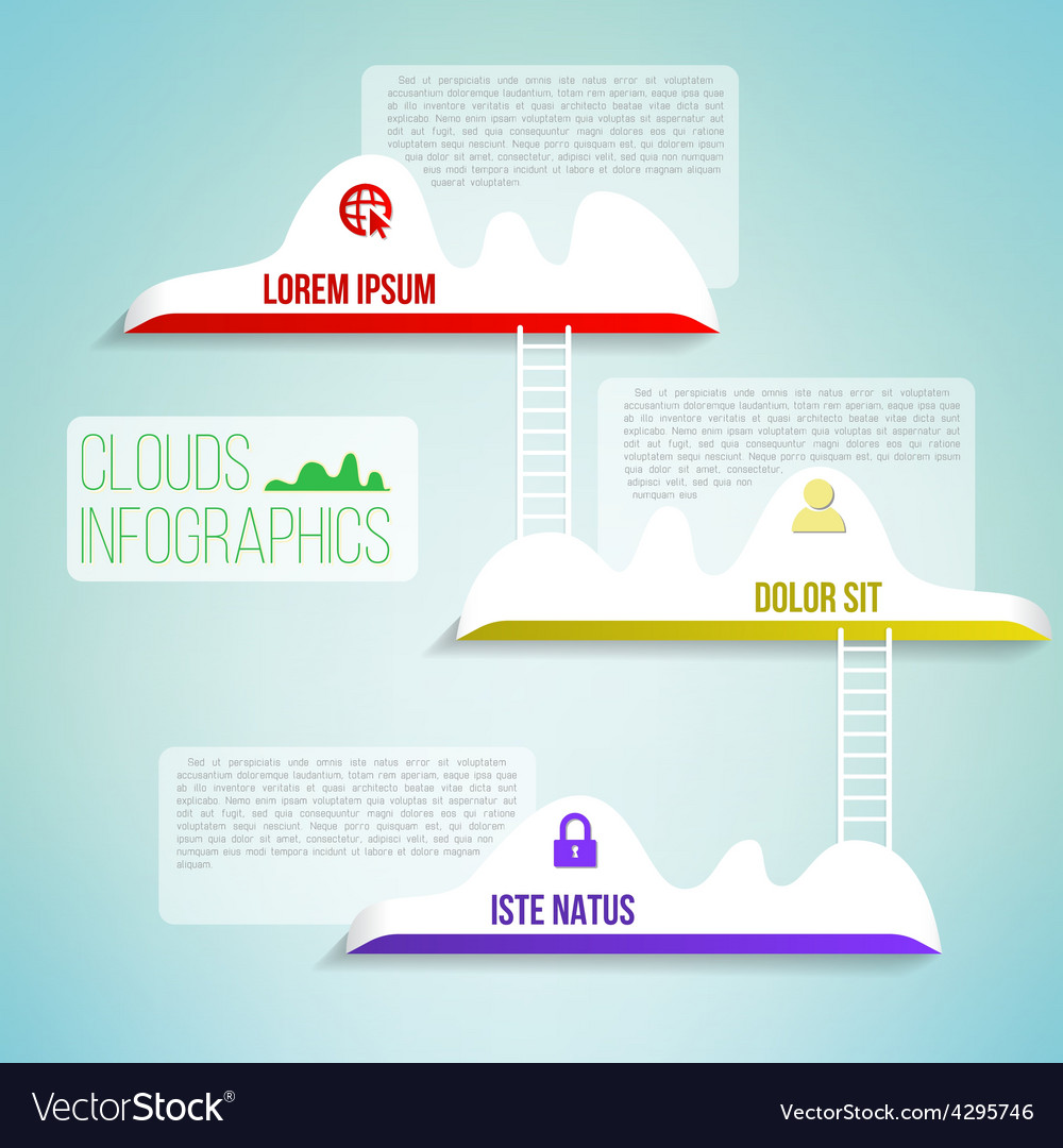 Clouds with the ladder simple clean infographics vector