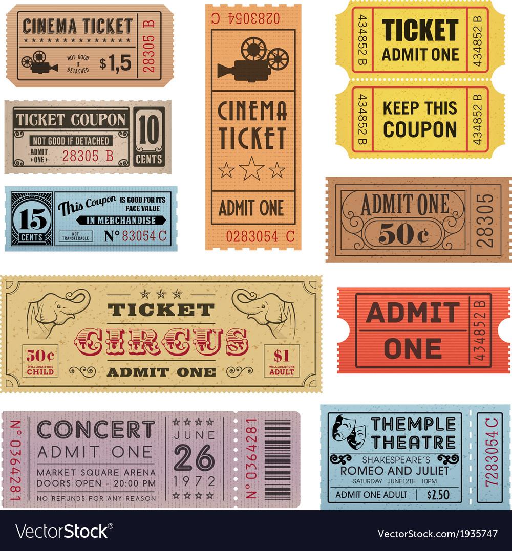 Grunge ticket set 1 vector