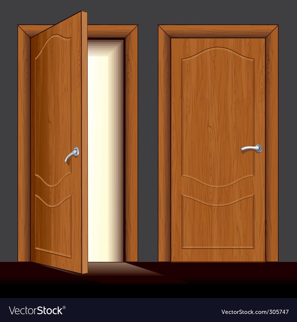 Wooden door vector