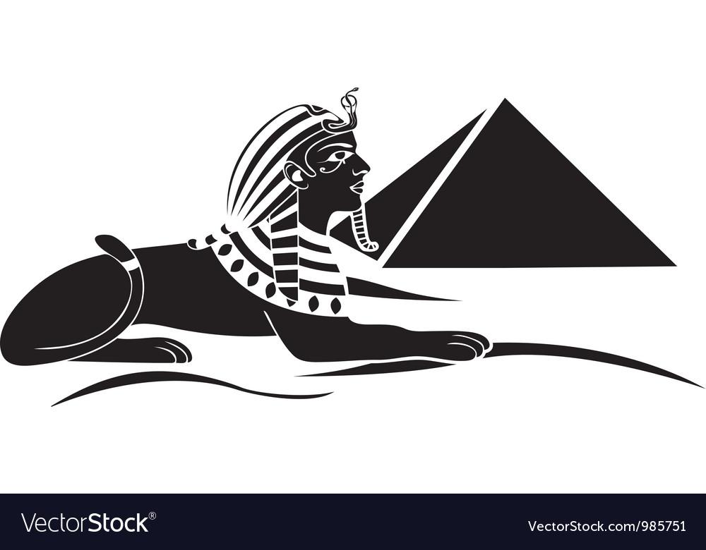 Egyptian sphinx with pyramid vector