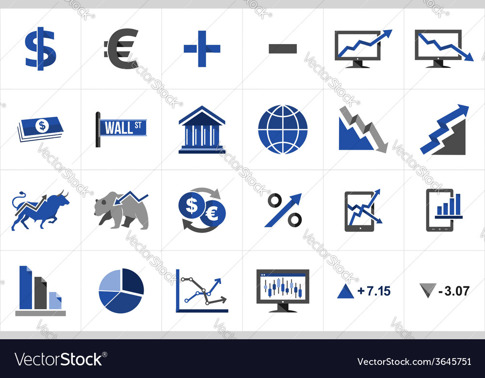 Stock market finance icon set vector