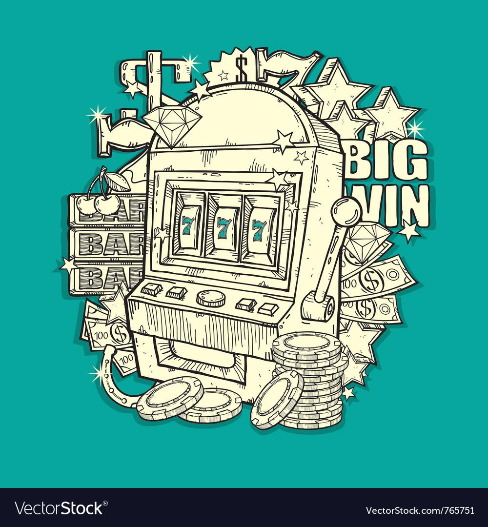 Vintage slot machine vector