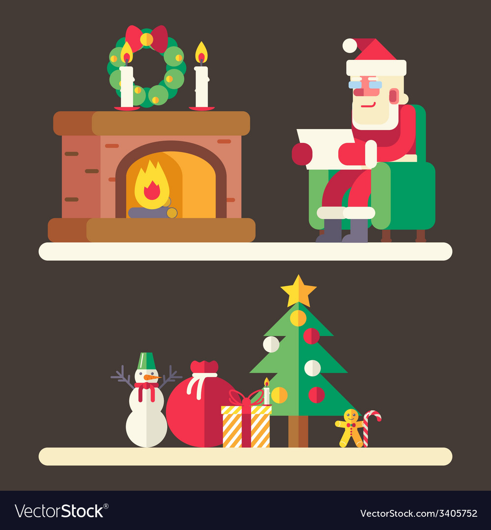 Santa claus reading mail list new year accessories vector