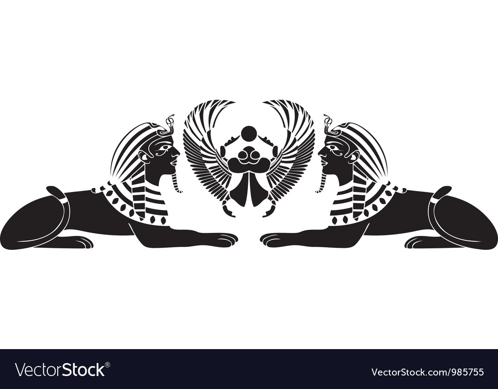 Egyptian sphinx with scarab vector