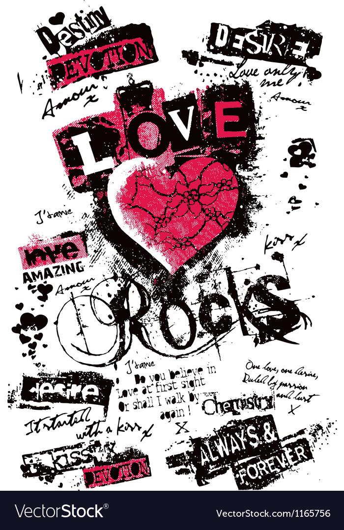 Heart love grungy texture vector