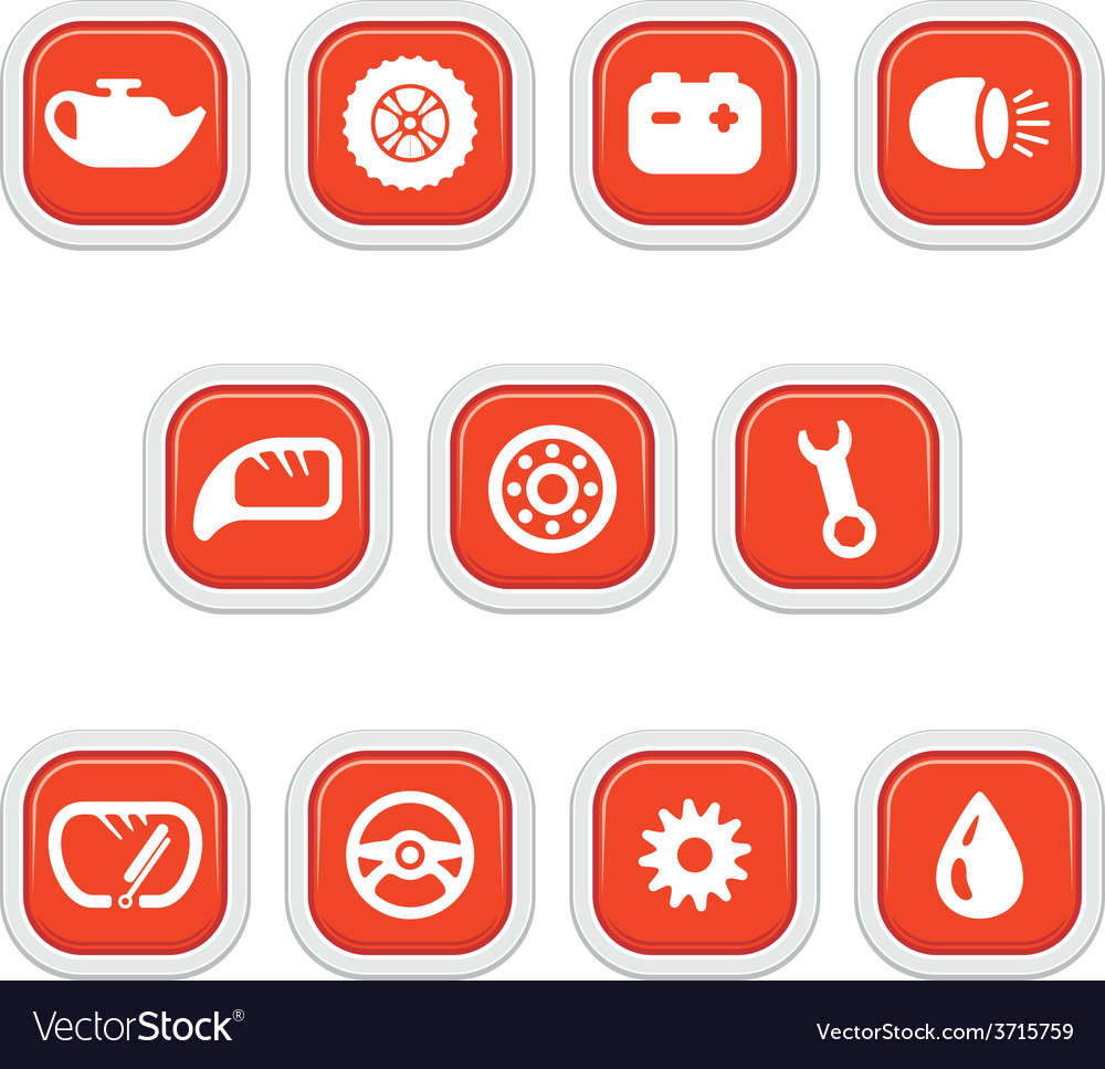 Icons car parts and services vector