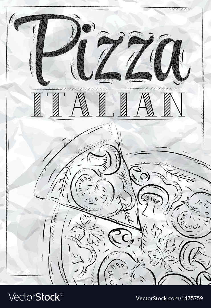 Poster pizza paper vector