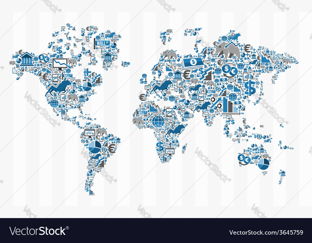 Stock exchange finance world map concept vector