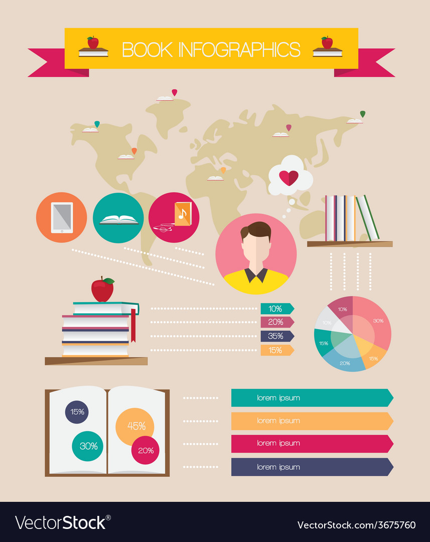 Set of books infographic vector