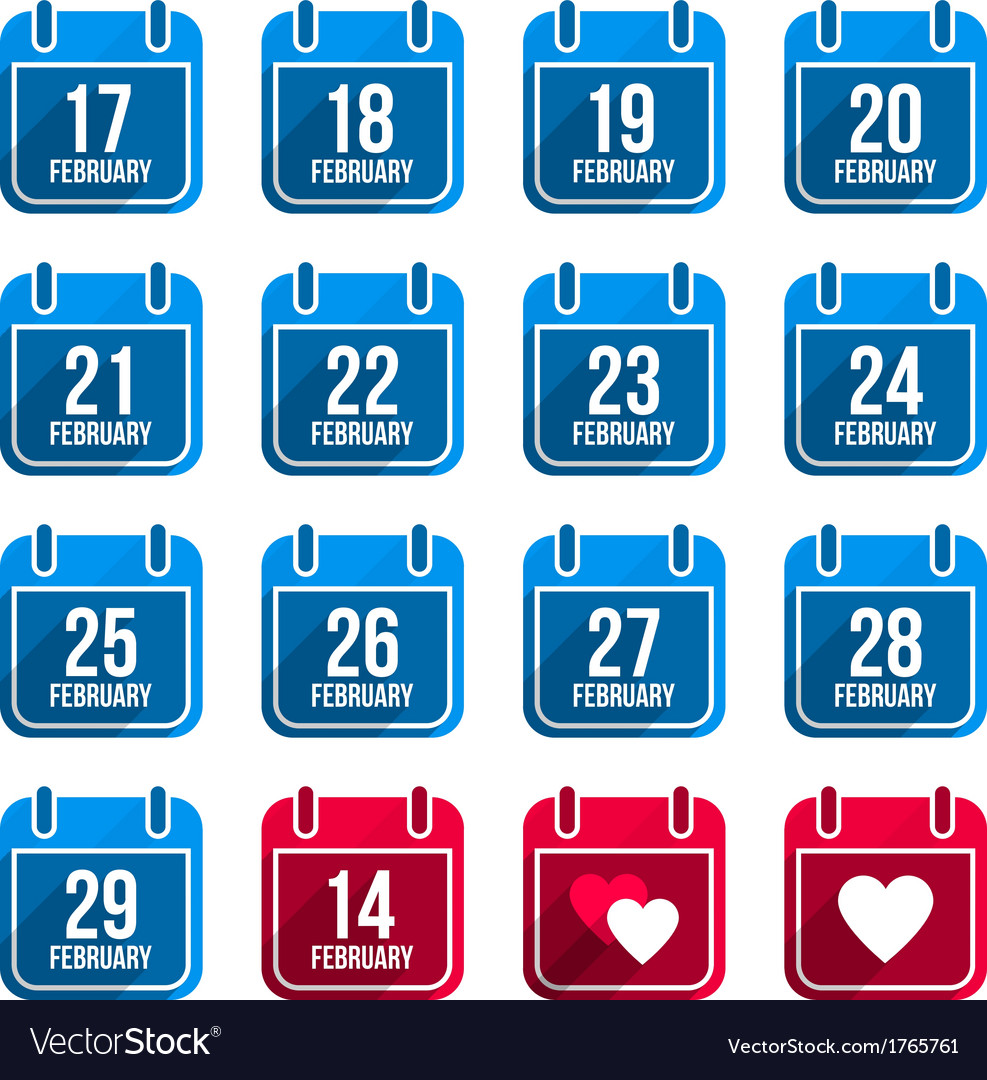 February flat calendar icons with long shadow vector