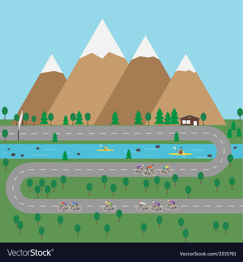 Outdoor sports in mountains flat style vector