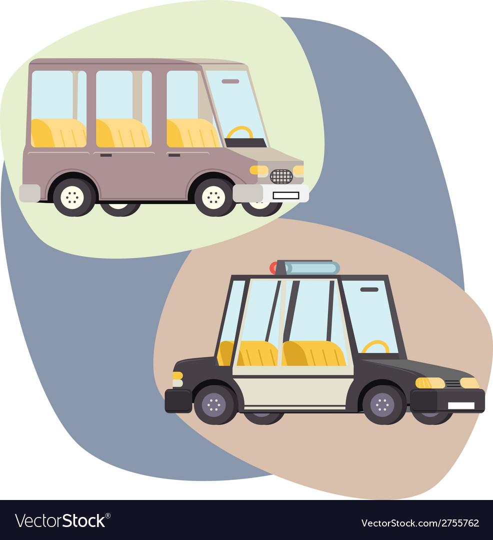 Retro cartoon cars police family travel vector