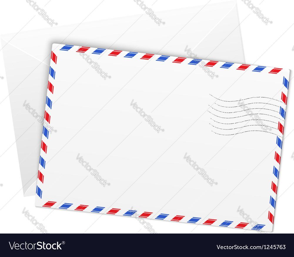 White paper airmail envelope vector