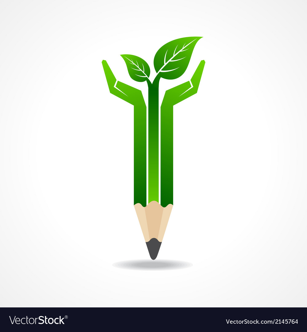 Save nature concept with pencil hands vector
