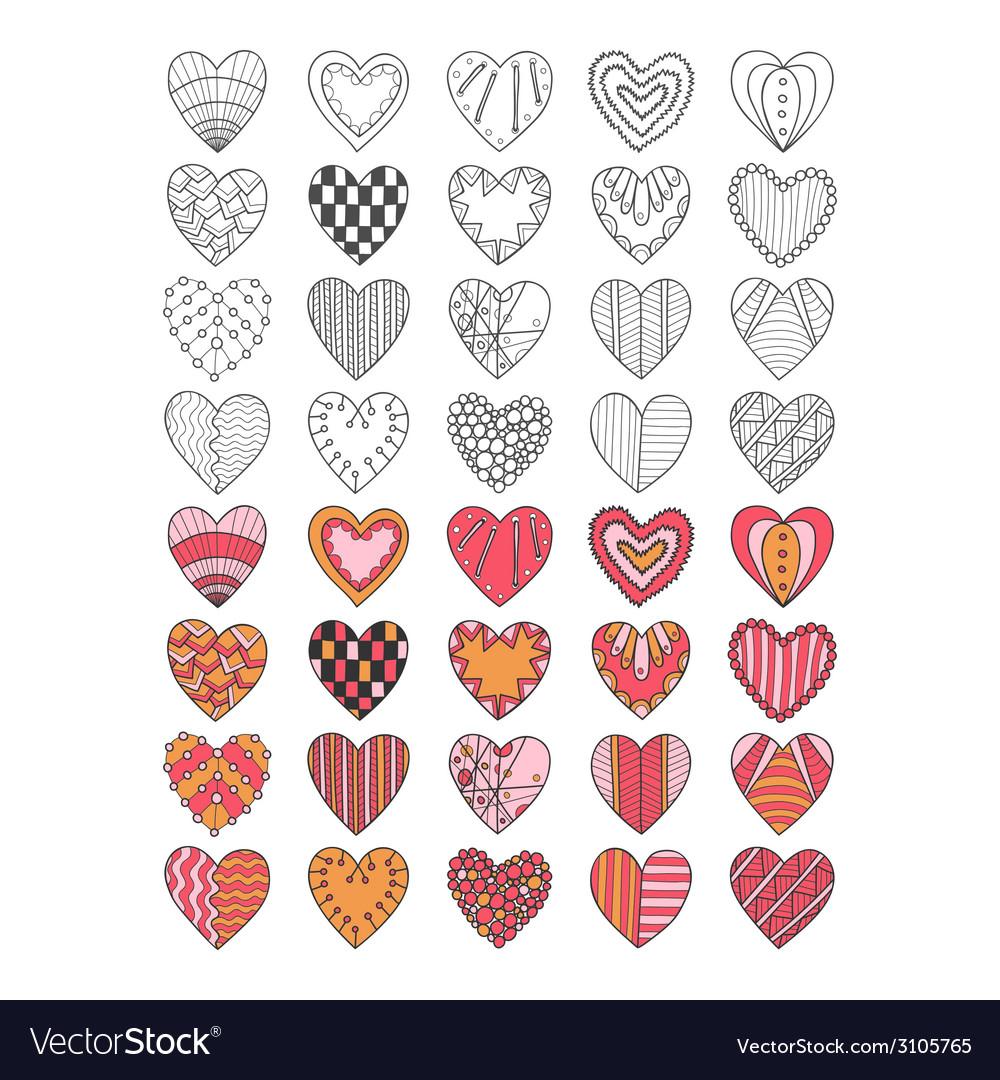 Set of hand drawn heart symbols vector