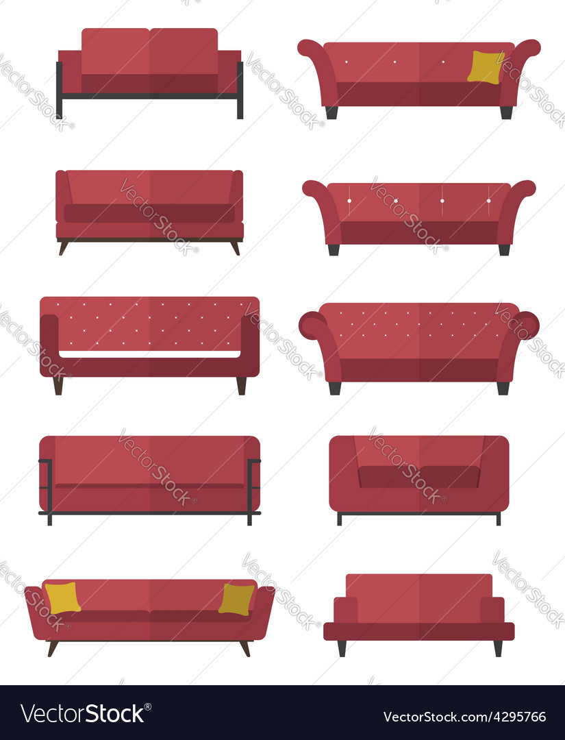 Flat design icon set of chair and sofa vector