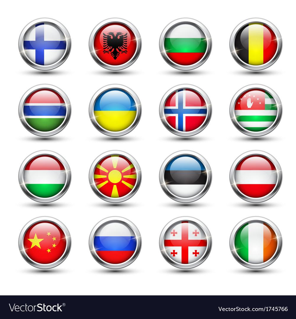 World flag glass icons vector