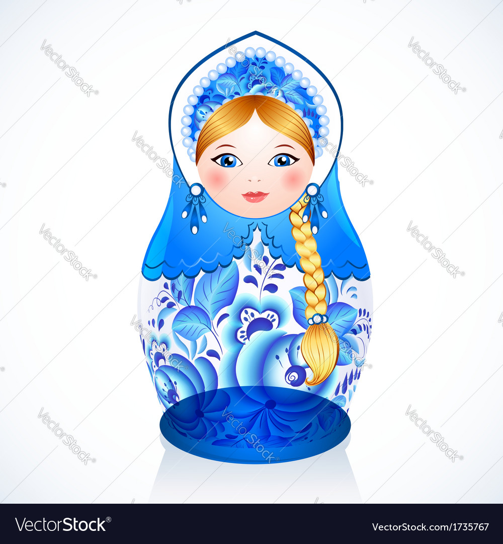 Russian traditional doll in gzhel style vector