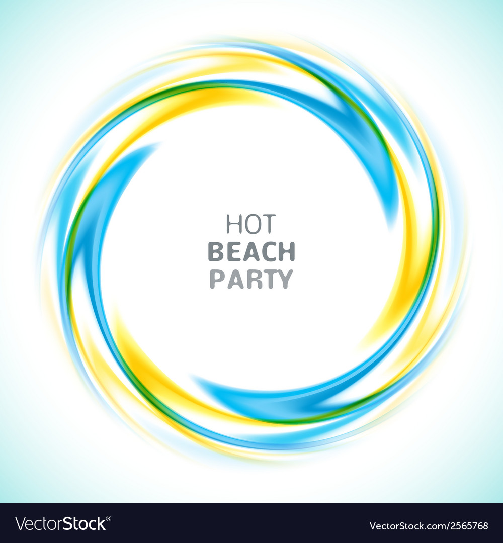 Abstract blue and yellow swirl circle bright vector