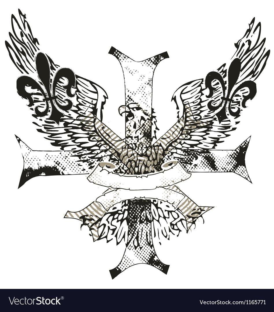 Eagles cross and shield emblem vector