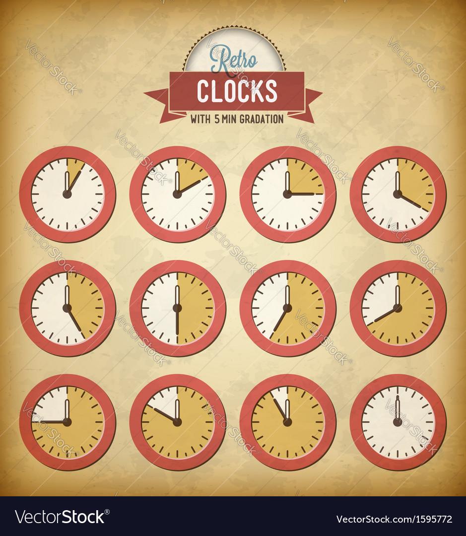 Set of vintage clocks vector