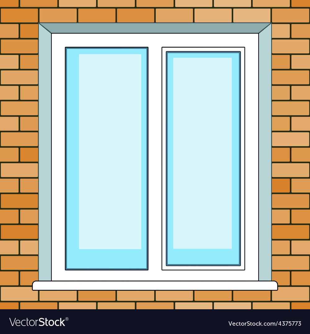 Window on brick wall vector