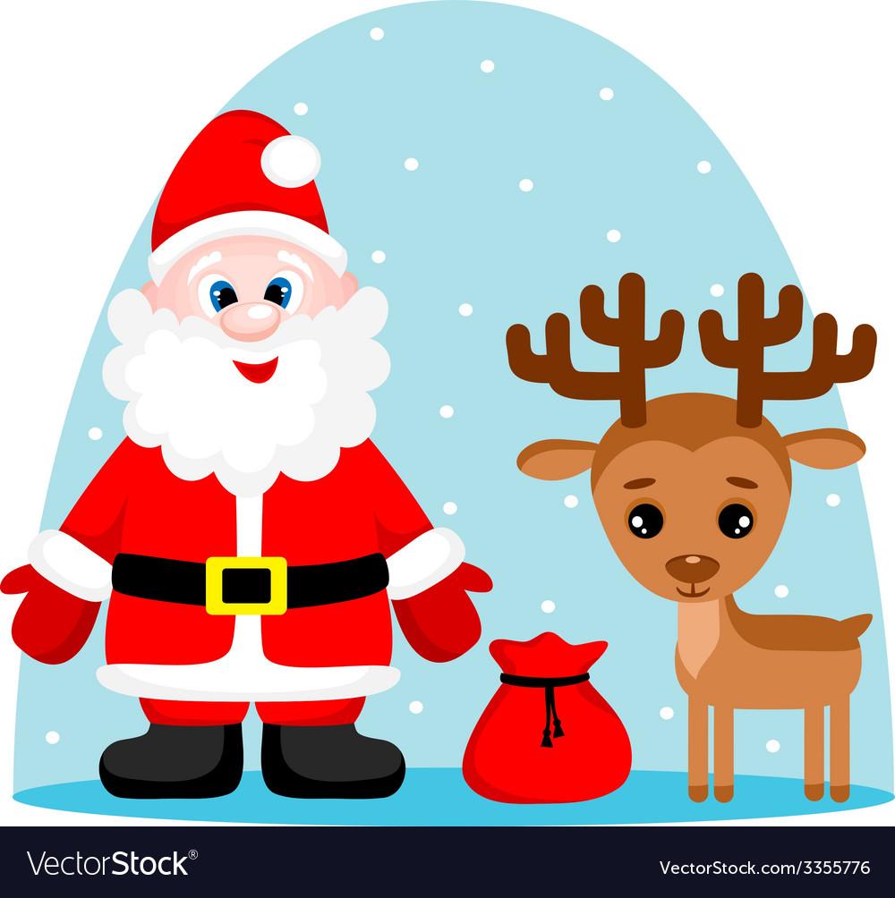 Santa claus and deer vector