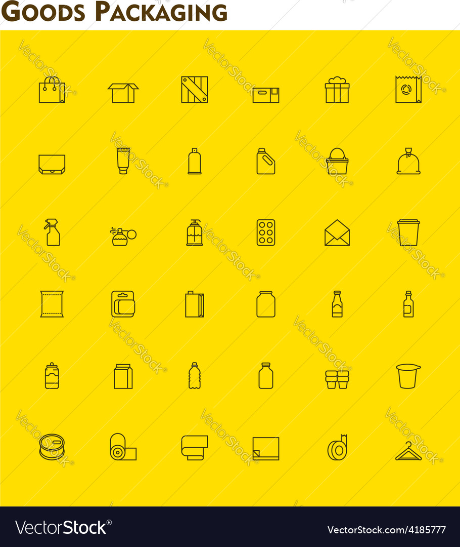 Linear packaging icon set vector