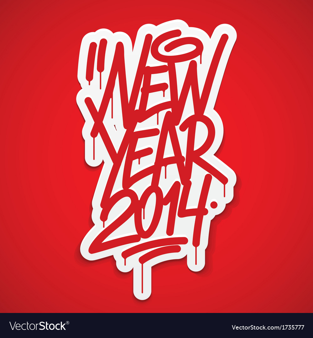 New year 2014 label lettering vector