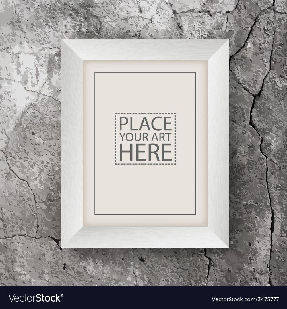 White wooden frame on concrete cracked wall vector