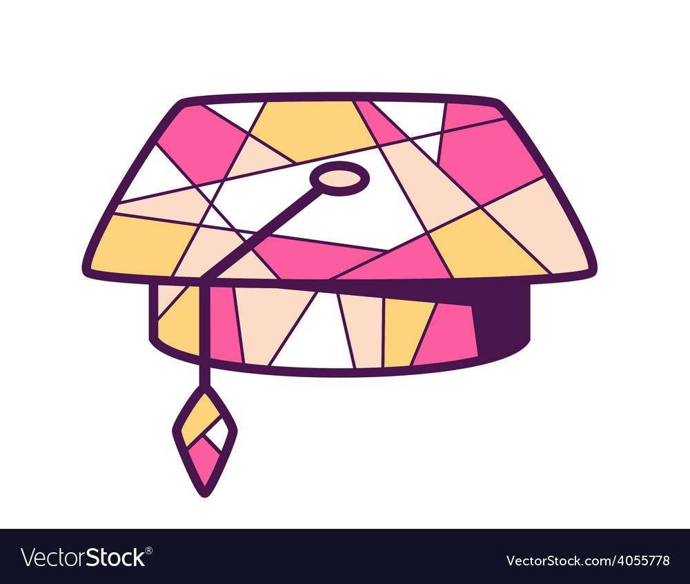 Pink and yellow graduation cap on light b vector