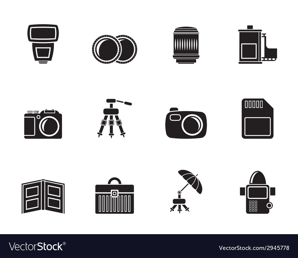 Silhouette photography equipment icons vector
