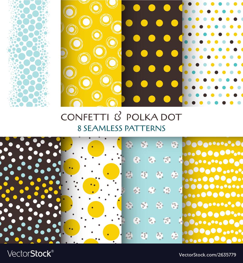 8 seamless patterns - confetti and polka dot vector