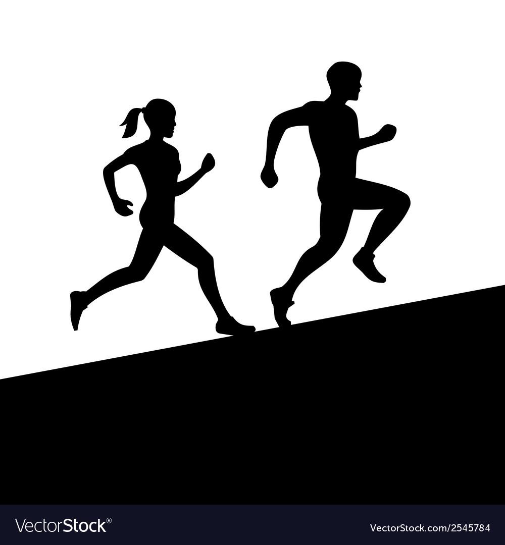 Men and women running silhouette vector