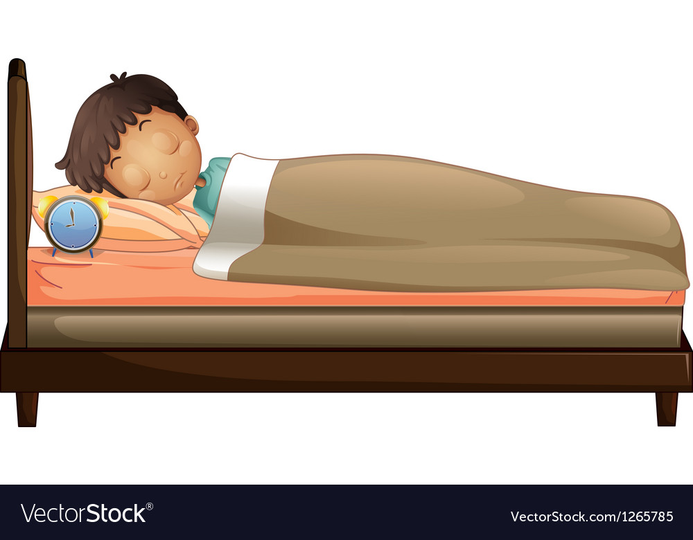 A boy sleeping with an alarm clock vector