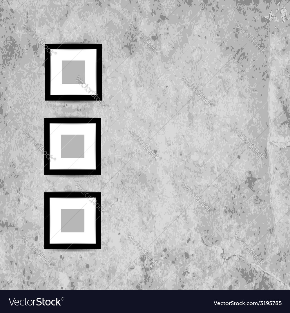 Retro picture frames on grunge wall for your vector