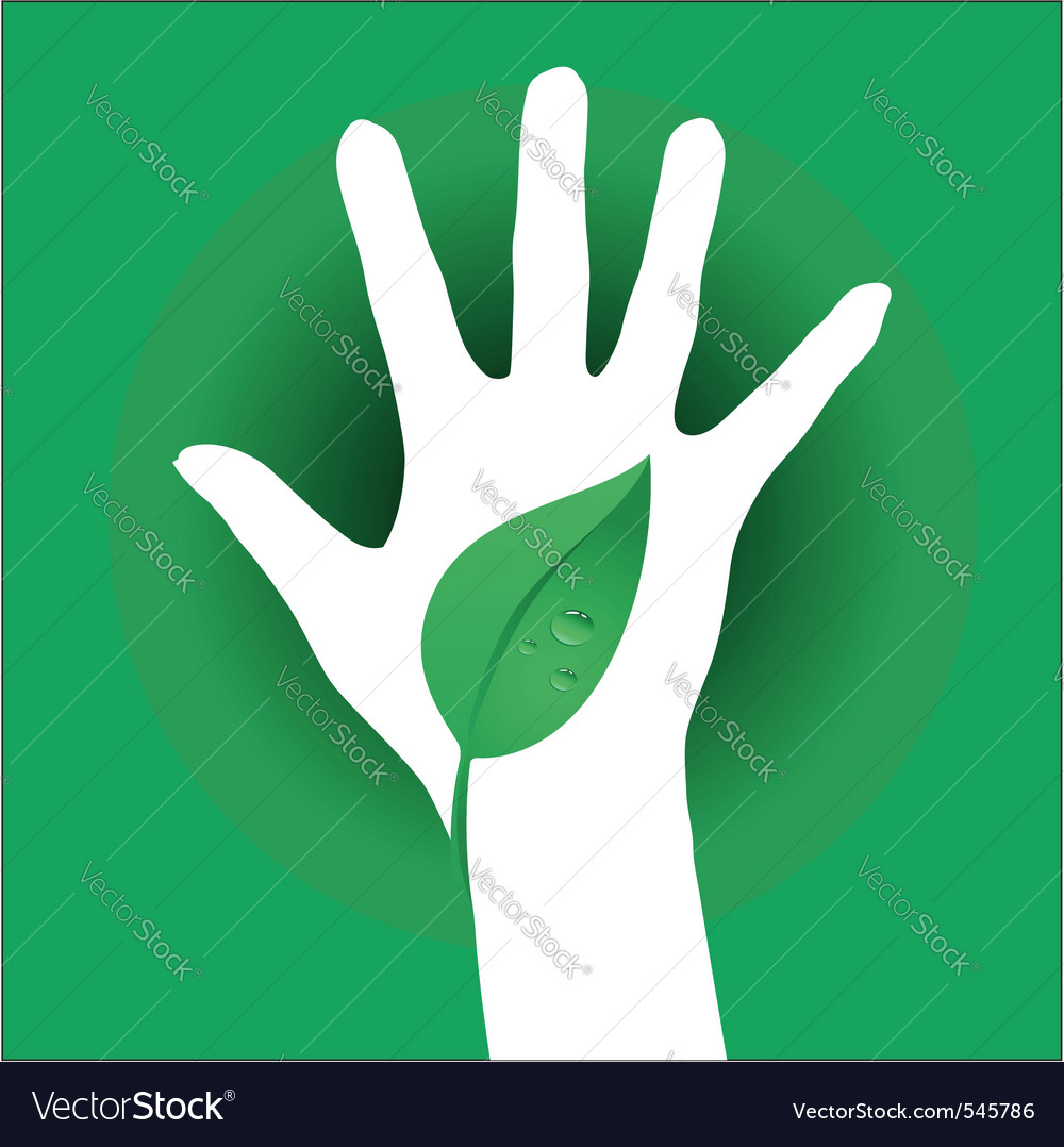 Hand leaf silhouette vector
