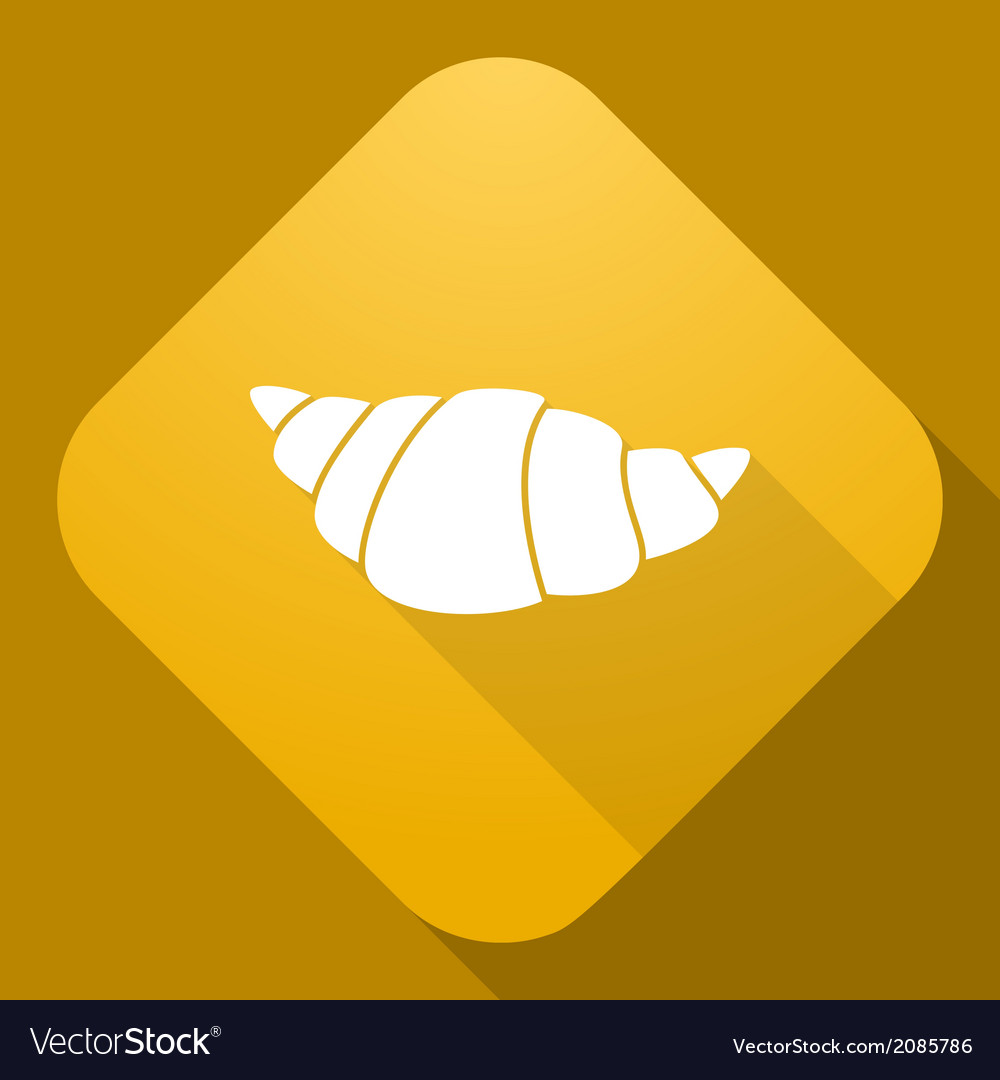 Icon of croissant with a long shadow vector