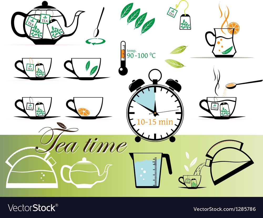 Tea time set vector