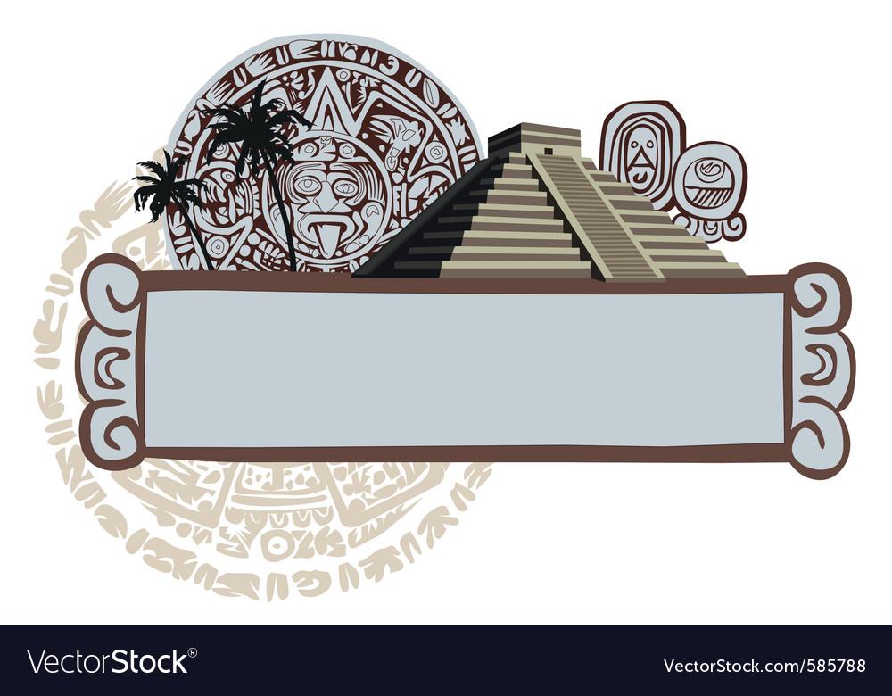 Aztec temple vector