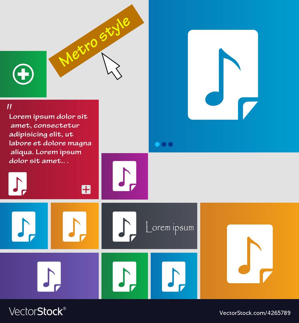 Audio mp3 fileicon sign metro style buttons modern vector