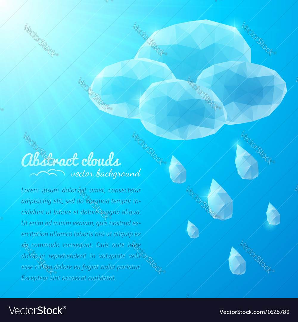 Crystal rainy cloud abstract background vector