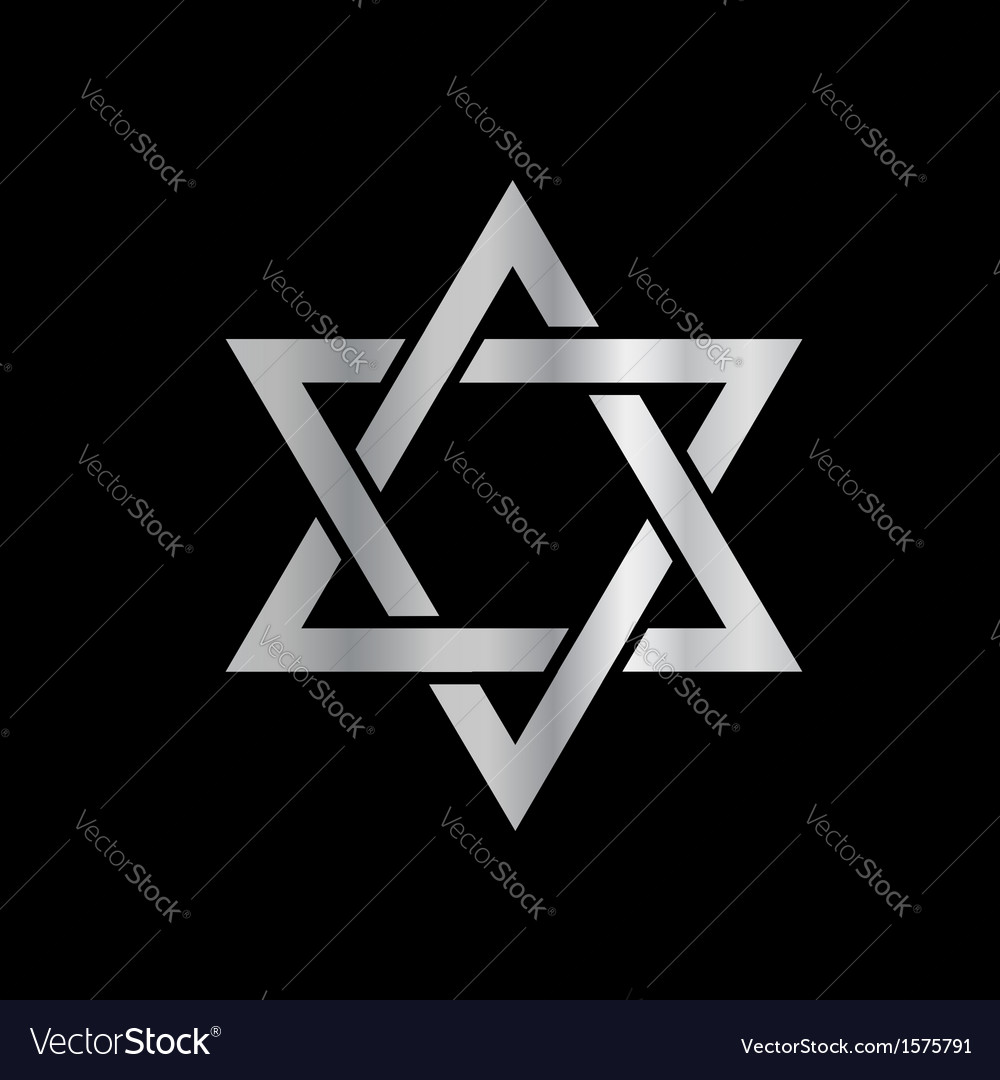 Silver star of david- jewish vector