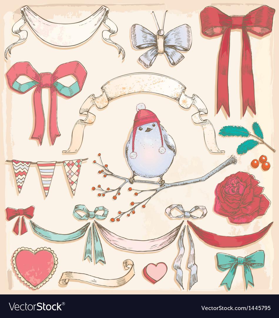 Hand drawn vintage bird ribbons and bows set vector