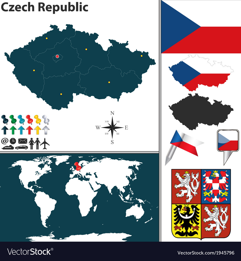 Czech republic map world vector