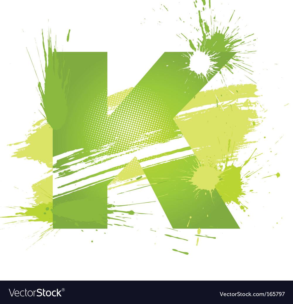 Paint splashes font letter k vector