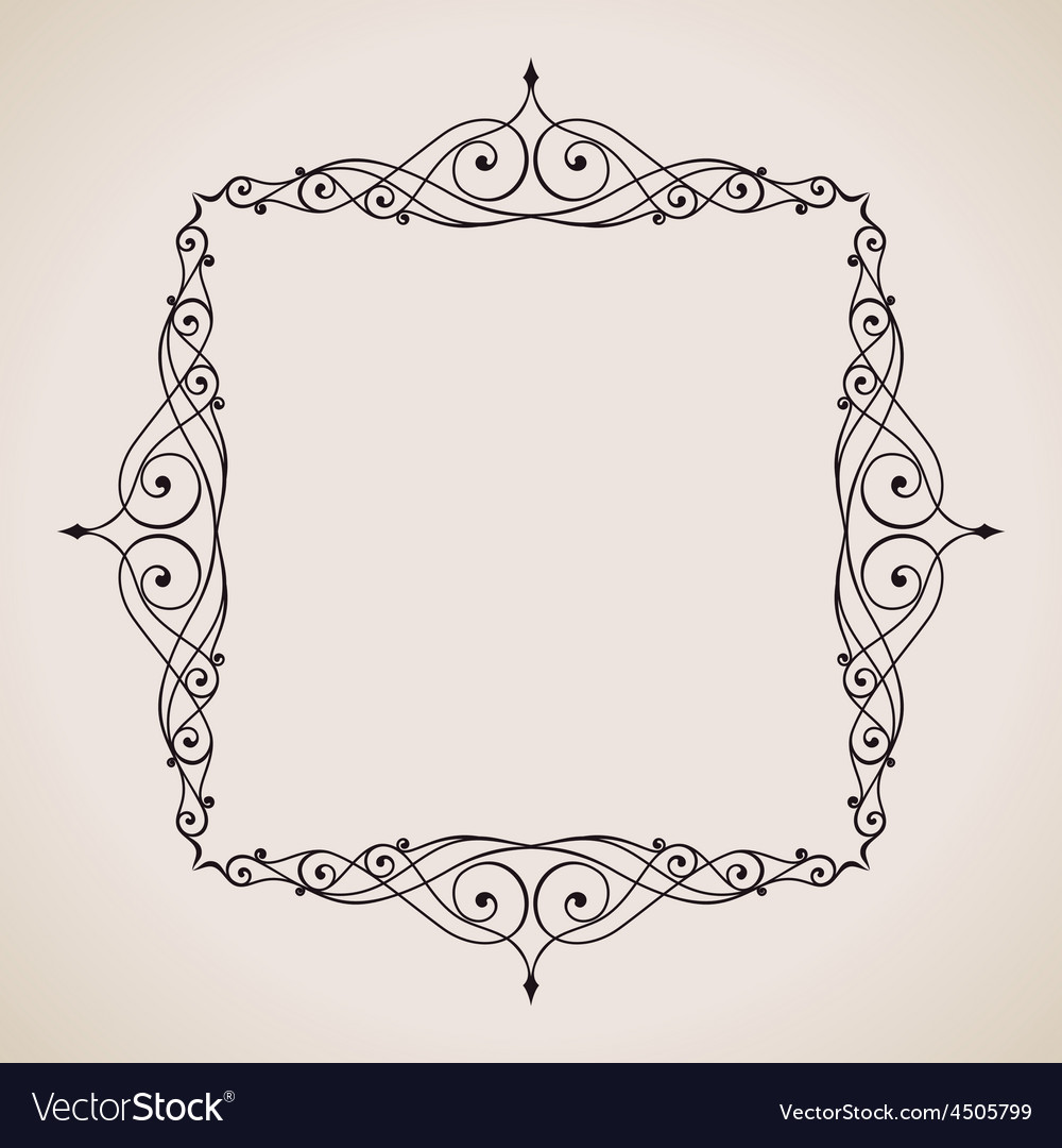 Calligraphic frame and page decoration vintage vector