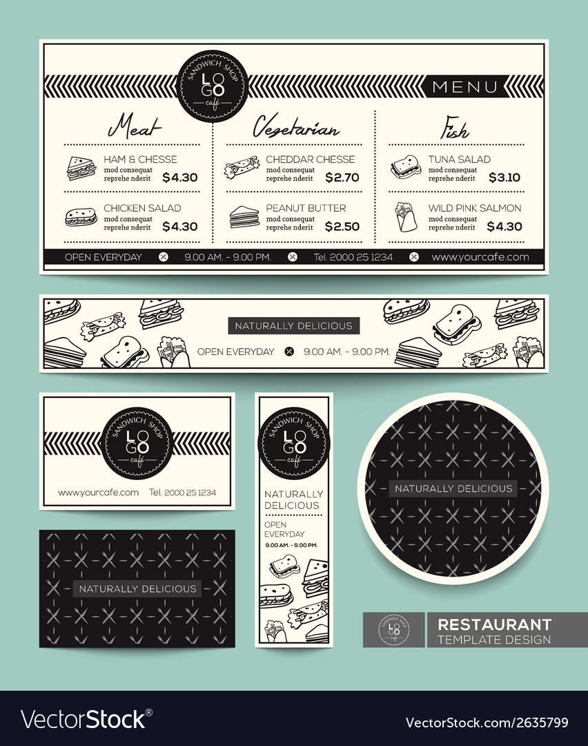 Restaurant set menu graphic design template vector