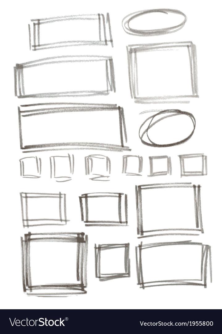 Hand drawn felp-tip pen frames vector